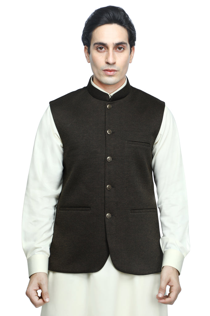 Waist coat For Men SKU: GA3405-BROWN - Diners