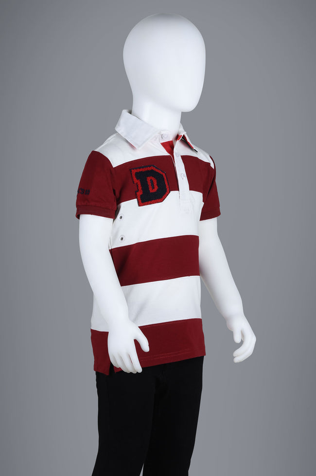 Boys Polo T-Shirt In Maroon KBA0172