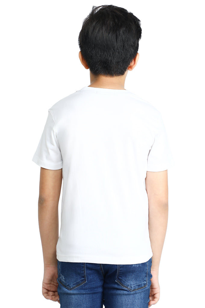Boys Round Neck T-Shirt SKU: KBA-0174-WHITE - Diners