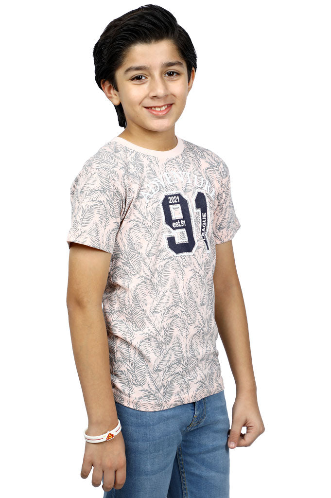 Boys T-Shirt In Peach KBA-0231-Peach