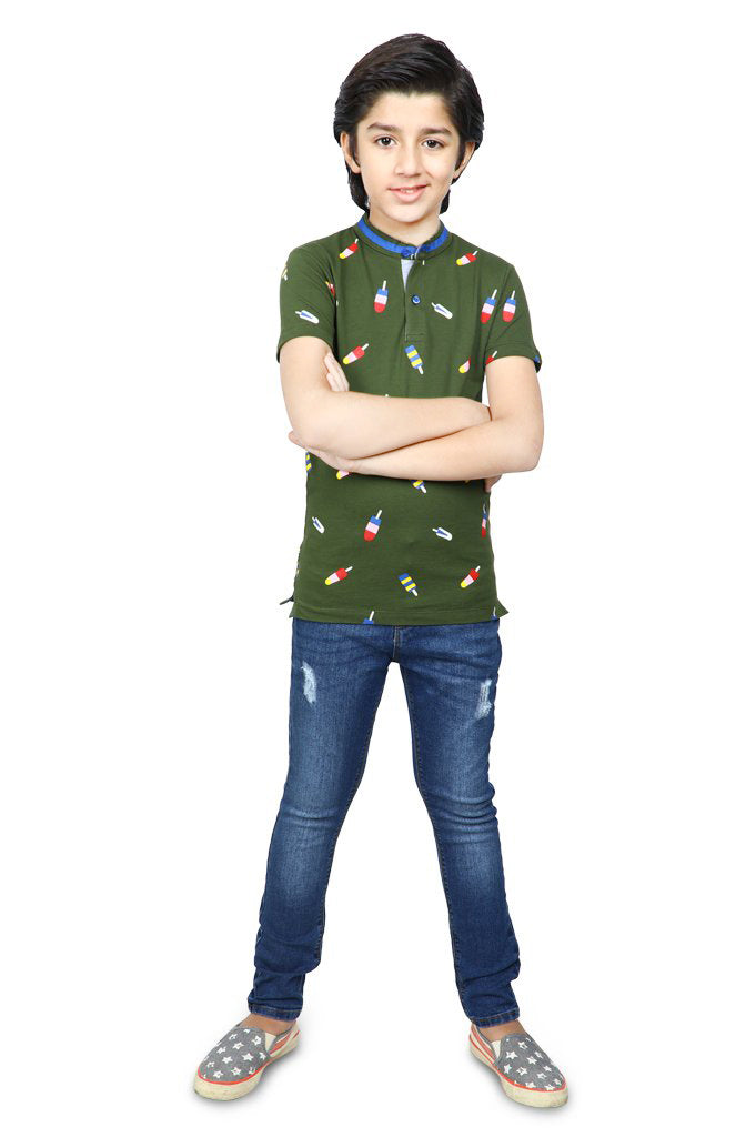 Boys T-Shirt In Olive KBA-0245