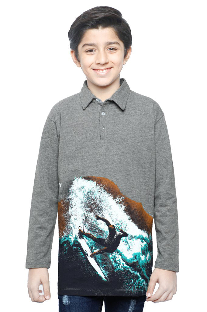 Boys Full Sleeves T-Shirt In GREY SKU: KBA-0256-GREY - Diners