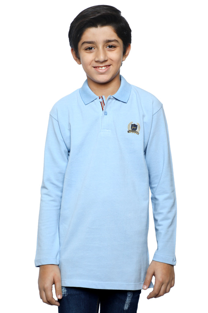 Boys Full Sleeves T-Shirt In Sky Blue SKU: KBA-0261-SKY BLUE - Diners