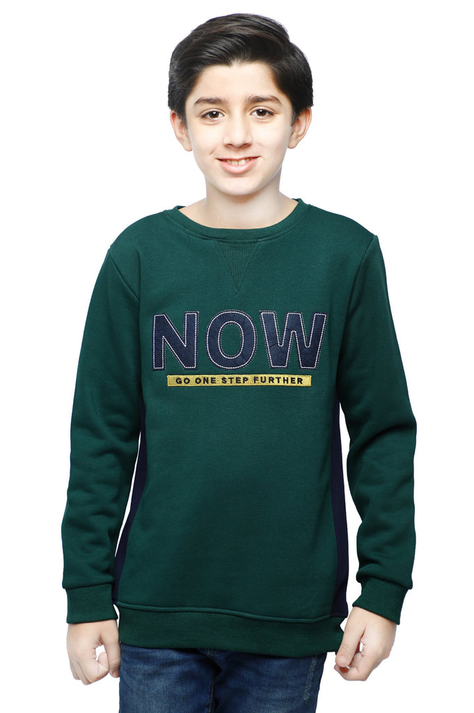 Boys Full Sleeves T-Shirt In Green SKU: KBA-0267-GREEN - Diners