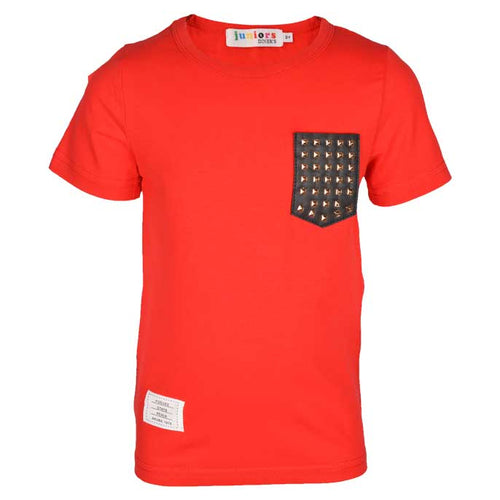 Boys Round Neck T-Shirt In Red SKU: KBA0145-RED