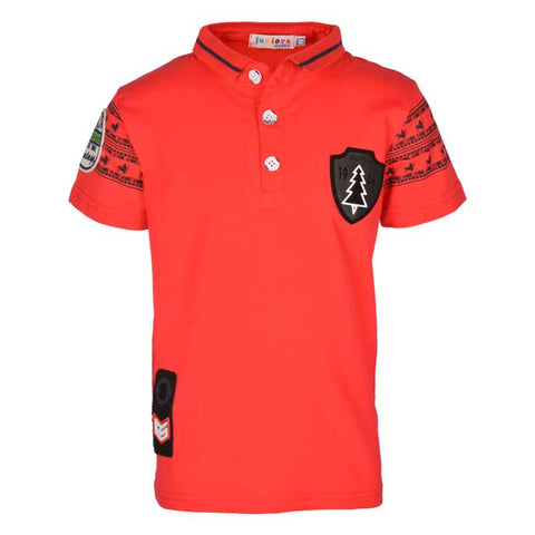 Boys Casual Shirt In Red SKU: KBA0158-Red