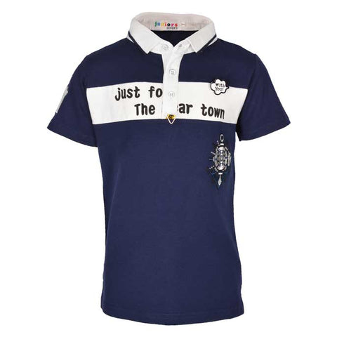 Boys Casual Shirt In Navy SKU: KBA0161-Navy