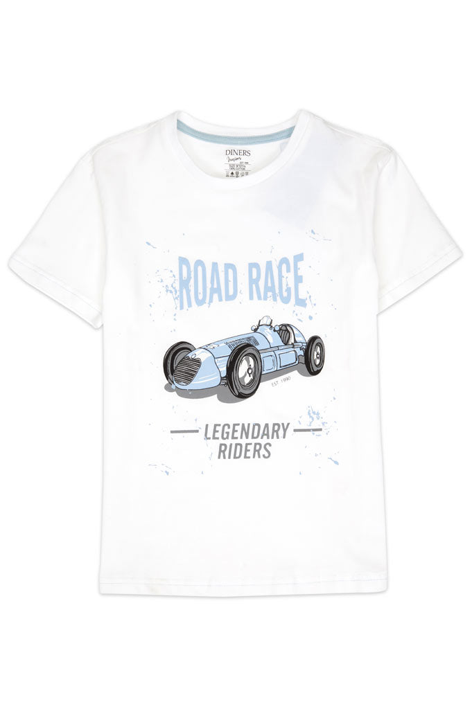 Boys Round Neck T-Shirt In White SKU: KBA0186-White - Diners