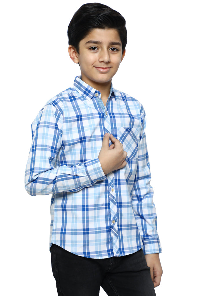 Boys Casual Shirt In Blue SKU: KBB-0283-BLUE - Diners