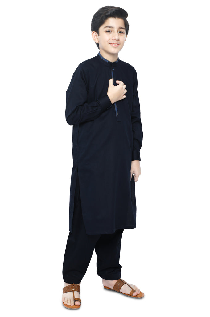 Boys Kurta Shalwar In D-Blue SKU: KBH-0078-D-BLUE - Diners