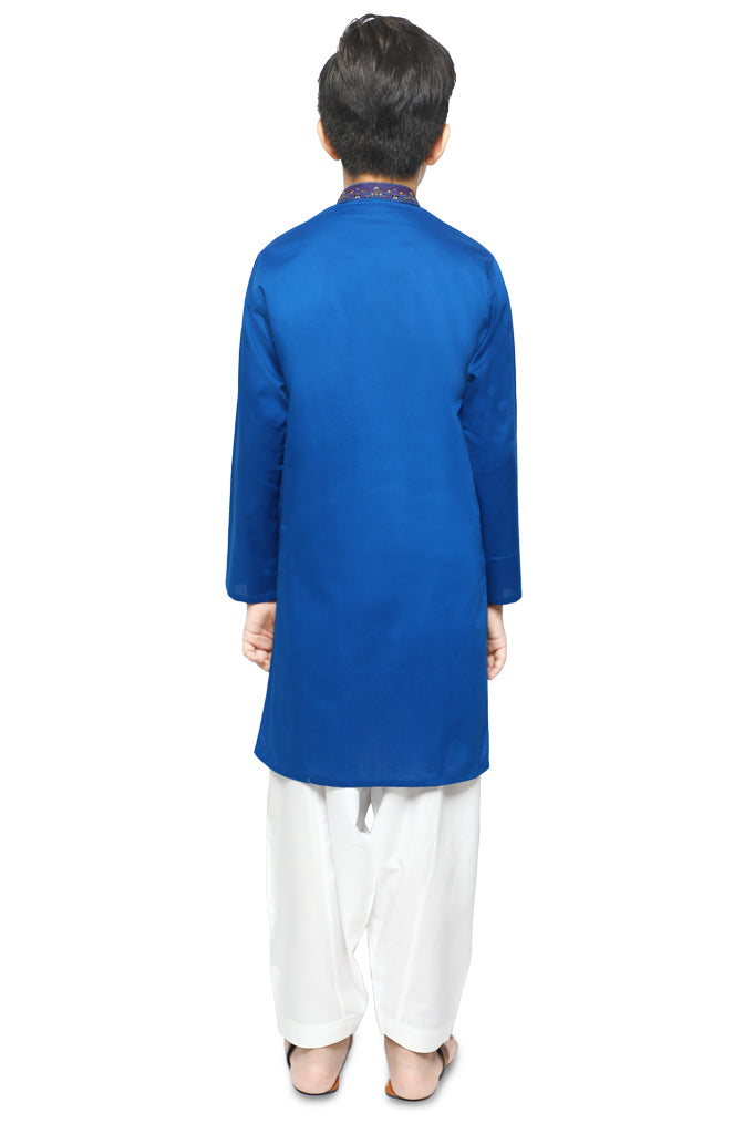 Boys Kurta Shalwar In Royal Blue SKU: KBKS-0055-Royal Blue - Diners