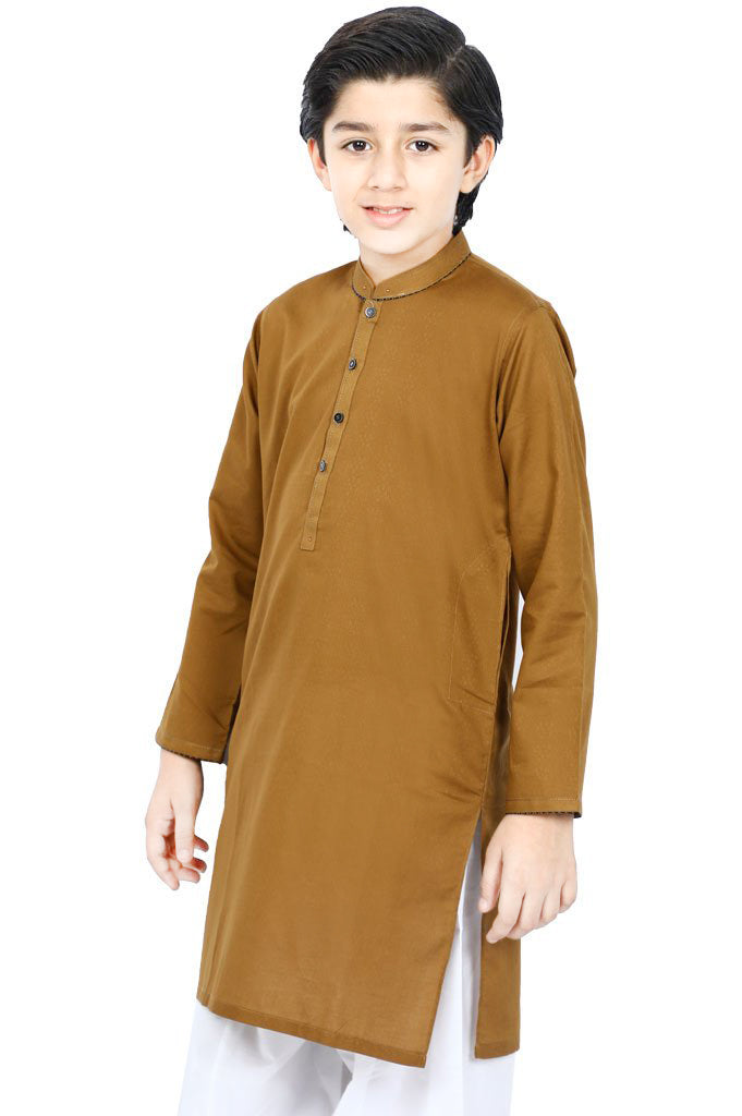 Boys Kurta Shalwar In Brown SKU: KBKS-0059 - Diners