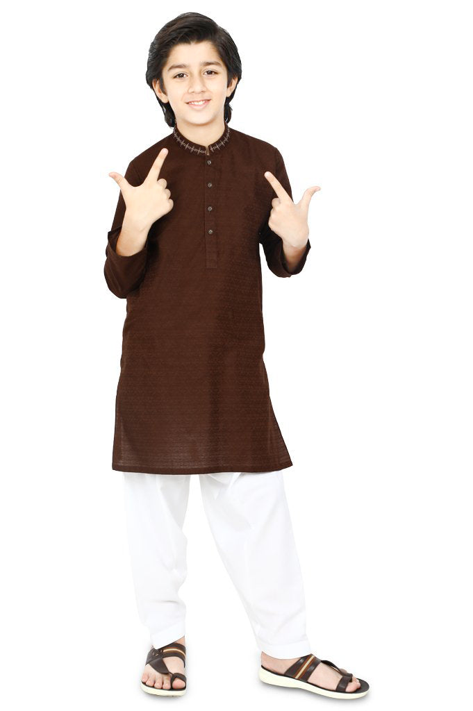 Boys Kurta Shawlar In D-Brown SKU: KBKS-0065 - Diners