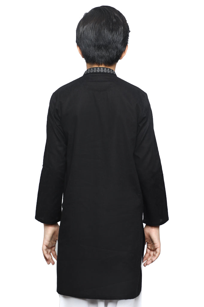 Boys Kurta In Black SKU: KBKS-0070-BLACK - Diners