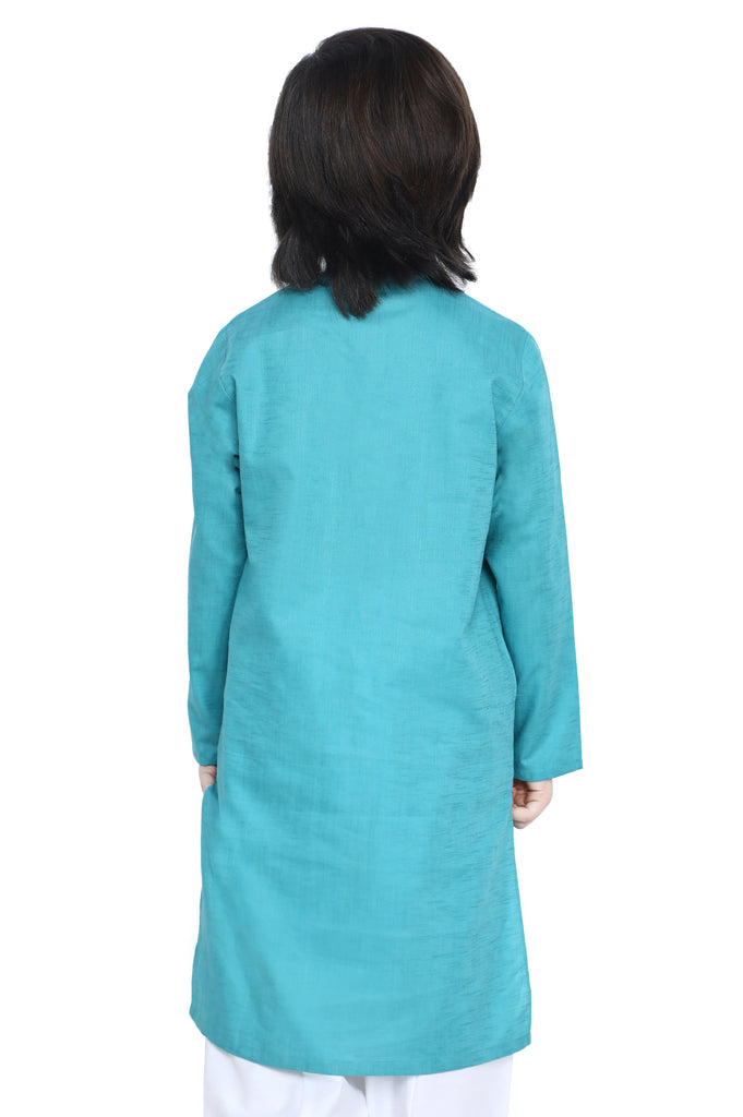 Boys Kurta In Teal SKU: KBKS-0074-TEAL - Diners