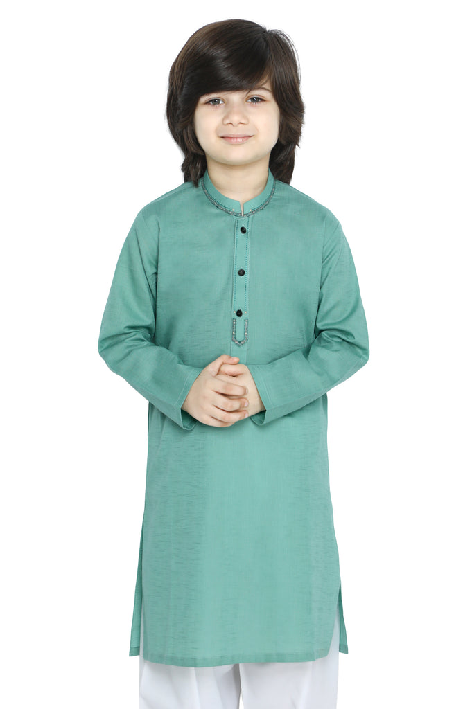 Boys Kurta In Green SKU: KBKS-0082-GREEN - Diners
