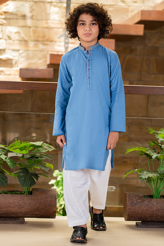 Boys Kurta Shalwar In Blue - Diners