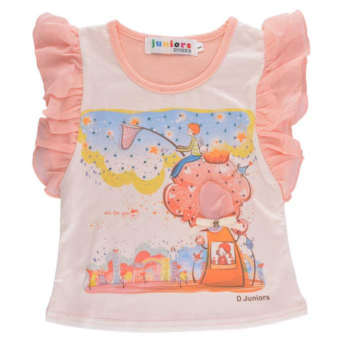 T-Shirt For Girls KGA-0126-Peach