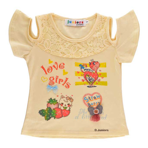 T-Shirt For Girls KGA-0132-Yellow