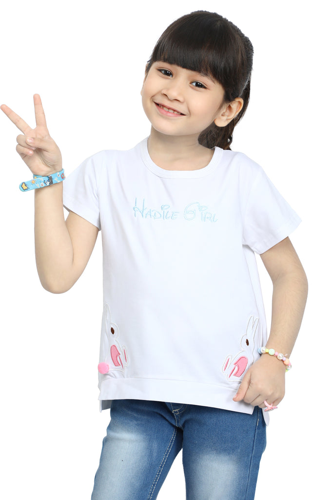 Girls T-Shirt In White SKU: KGA-0161-WHITE - Diners