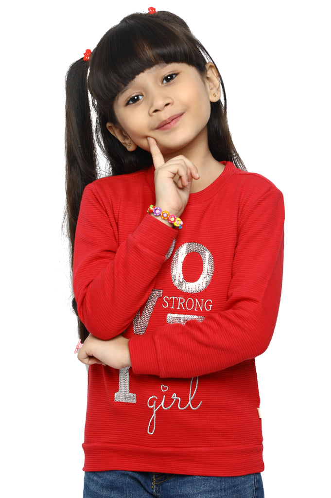 T-Shirt For Girls In Red SKU: KGA-0174-RED - Diners