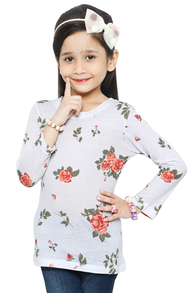 Girls T-Shirt In White SKU: KGA-0191-WHITE - Diners
