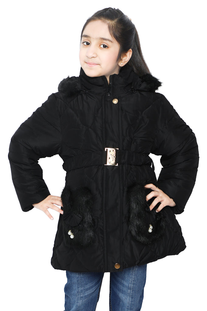 Girls Jackets In Black SKU: KGF-0100-BLACK - Diners