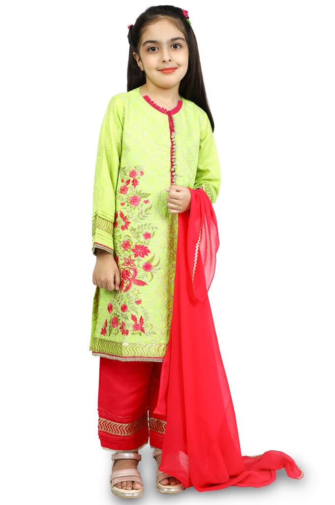 Girls Kurti With Trouser and Dupatta  KGKK-0129-Green - Diners