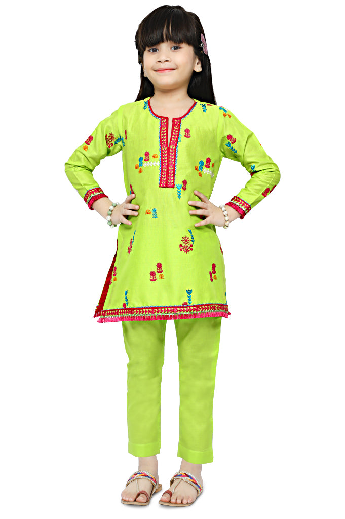 Girls Kurti in Green KGKK-0162-GREEN - Diners