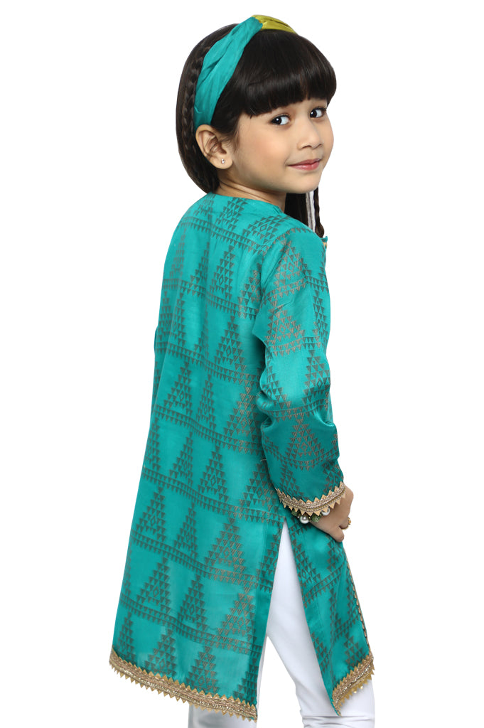 Girls Kurti in D-Green SKU: KGKK-0170-D-GREEN - Diners