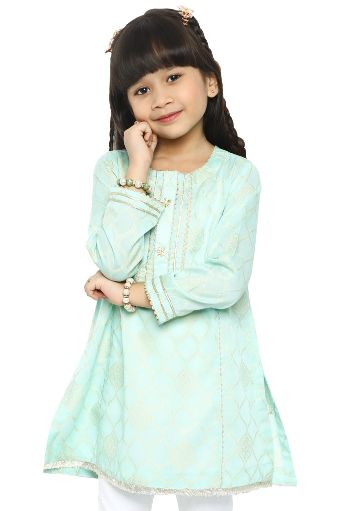 Girls Kurti in L-Green SKU: KGKK-0175-L-GREEN - Diners