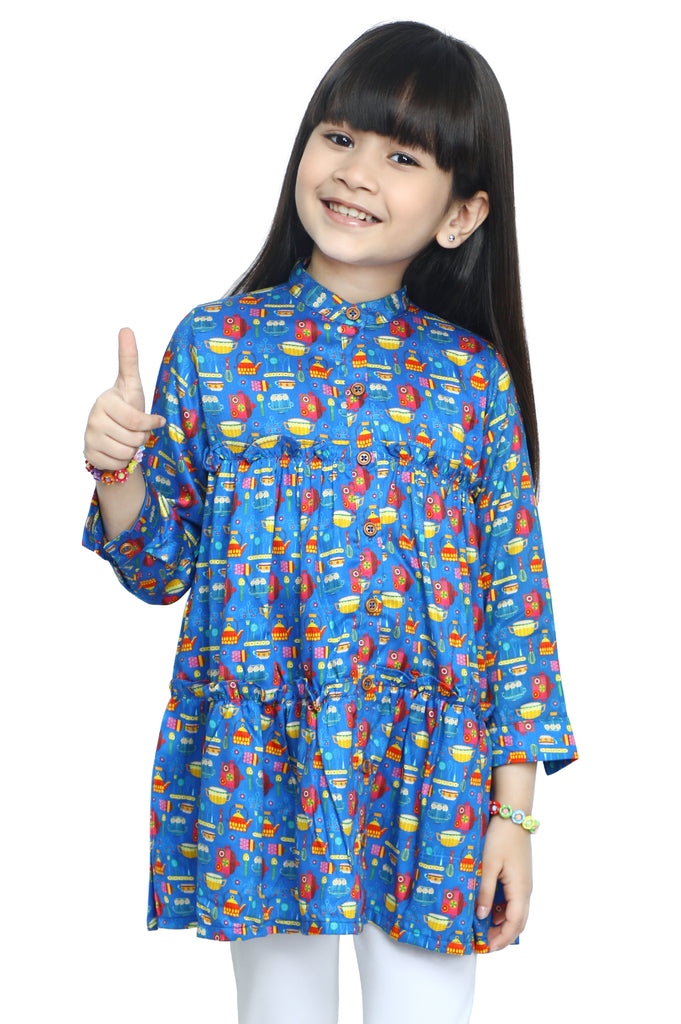 Girls Kurti in Blue SKU: KGKK-0197-BLUE - Diners