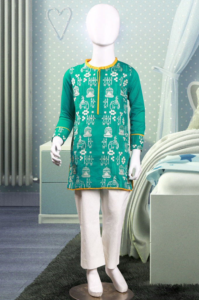 Girls Kurti SKU: KGKK0134-Green