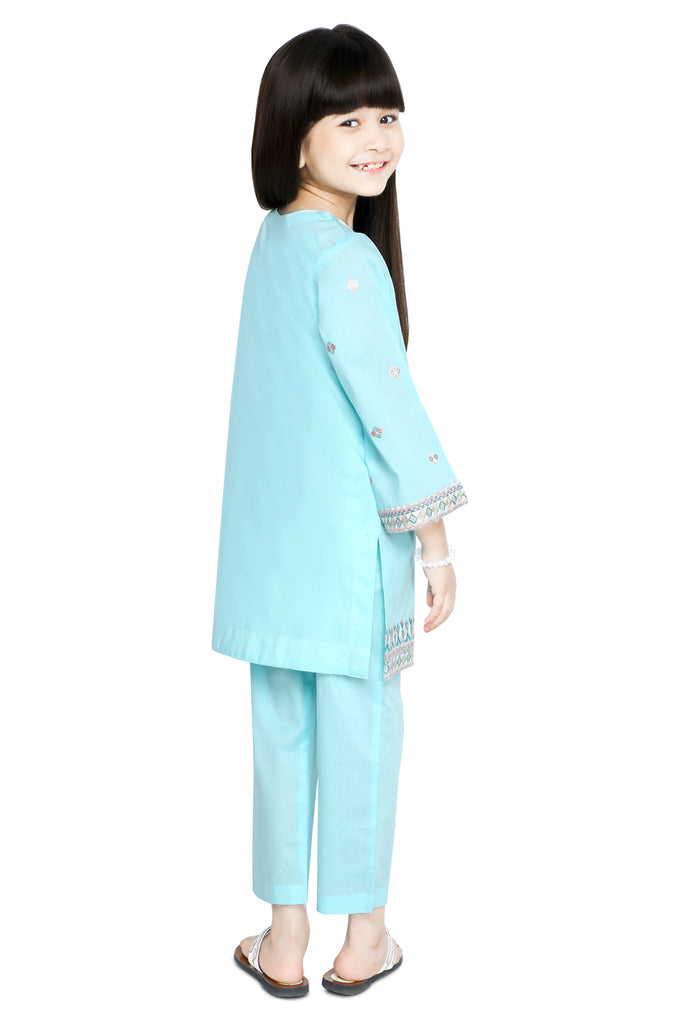 Girls Kurti in Sky Blue SKU: KGKK-0201-SKY BLUE - Diners
