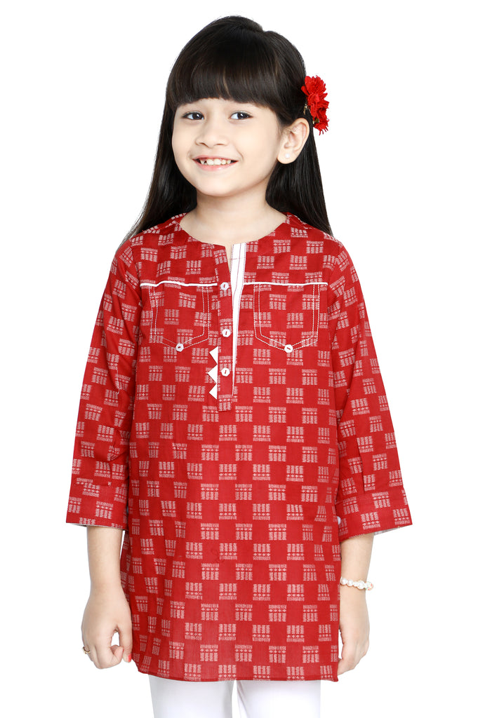 Girls Kurti in Red SKU: KGKK-0214-RED - Diners