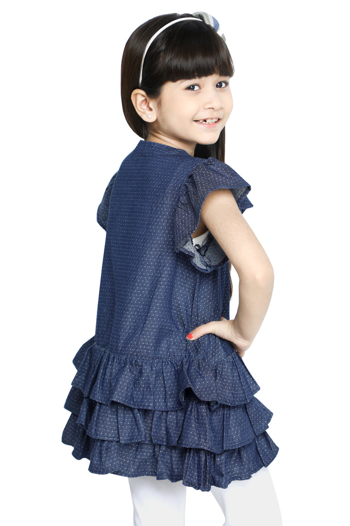 Girls Kurti in D-Blue SKU: KGKK-0216-D-BLUE - Diners