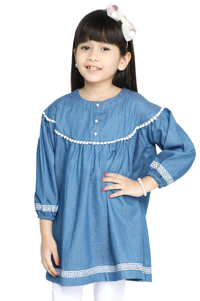 Girls Kurti in L-Blue SKU: KGKK-0217-L-BLUE - Diners