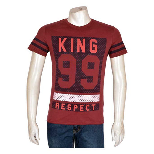DINER`S CREW NECK T-SHIRT FOR MEN IN MAROON NA514-MAROON