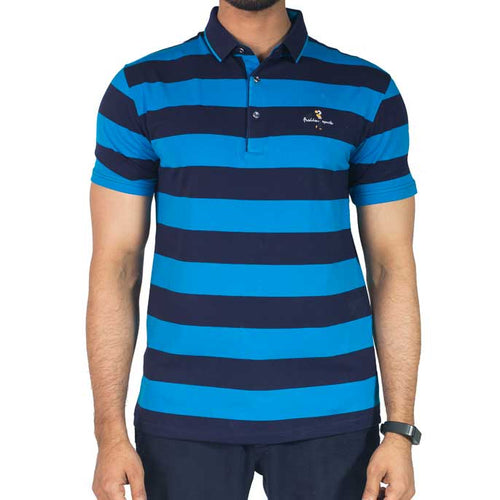 Men`s Polo Stripes T-Shirt in SKU: NA567-AQUA