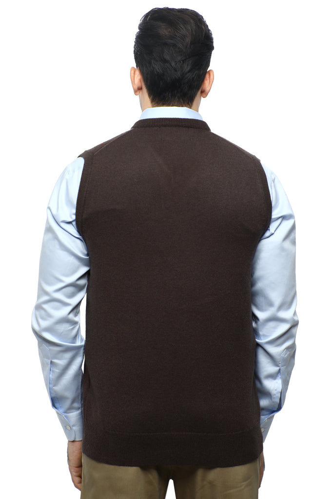 Gents Sweater (Sleeveless) In D-Brown SKU: SA561-D-BROWN - Diners