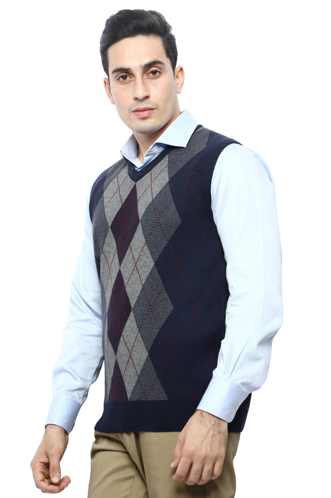 Gents Sweater (Sleeveless) In N-Blue SKU: SA561-N-BLUE