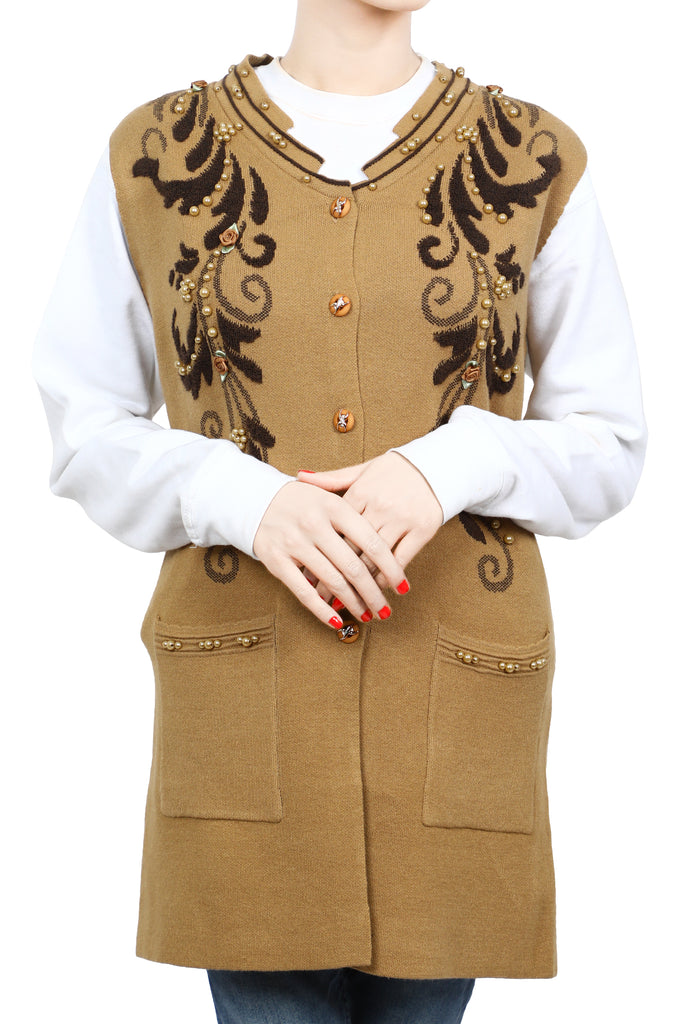 Ladies Sweater In D-Brown SKU: SL898-D-BROWN