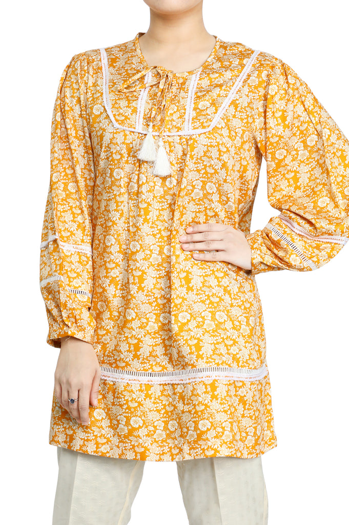 Women Stitched Kurti In Orange SKU: WKL0620-ORANGE - Diners