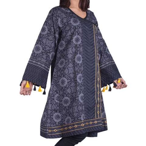 Digital Printed Stitched Kurti In Black (WKL0021-BLACK)