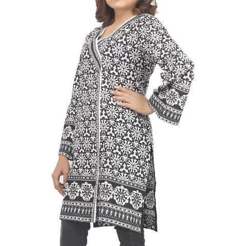 Woman Printed Stitched Kurti In Black (WKL0027-Black)