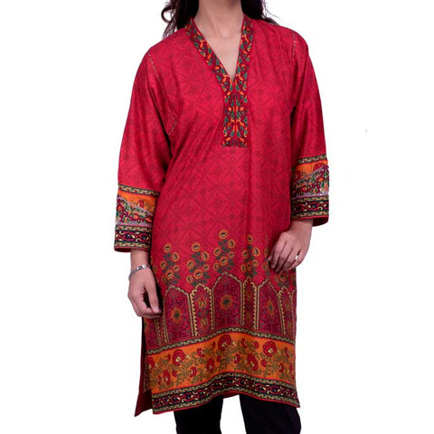 Digital Printed Stitched Kurti In Plum (WKL0037)