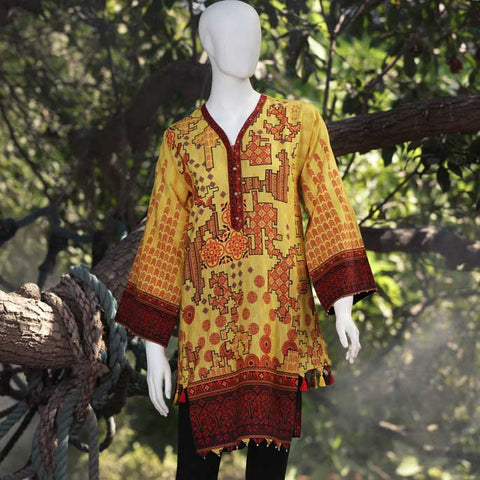 Digital Printed Stitched Kurti In Yellow SKU: WKL0042-Yellow
