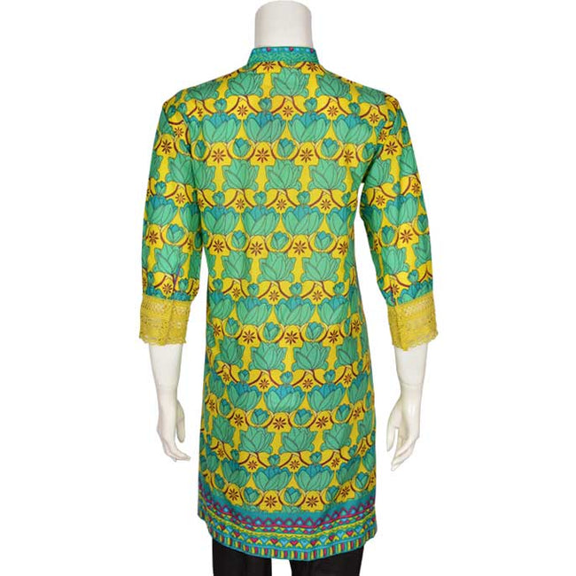 Digital Printed Stitched Kurti In Green (WKL0059-GREEN)