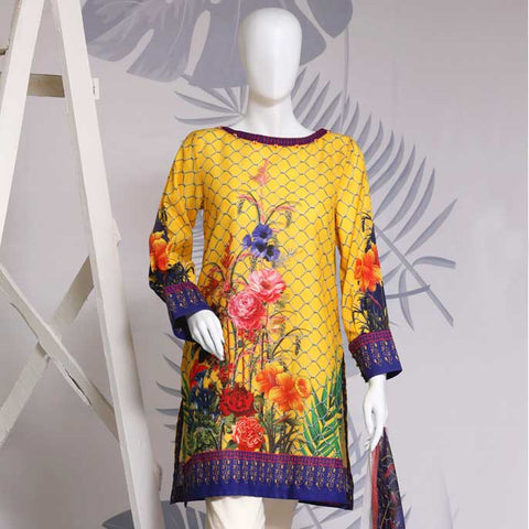 Digital Printed Stitched Kurti In Yellow (WKL0071)