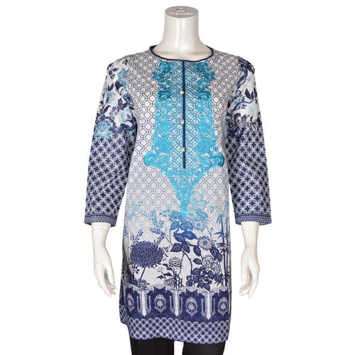 Women Stitched Kurti In Blue (WKL0077-Blue)